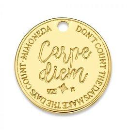 Mi Moneda Monogram MMM Carpe Diem Deluxe Tag 20mm Goudkleurig