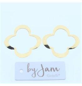 By Jam Gioielli By Jam Gioielli Oorbel-Part Flat Clover Goudkleur