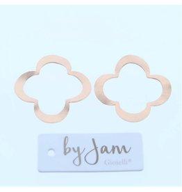 By Jam Gioielli By Jam Gioielli Oorbel-Part Flat Clover Mat Rosé