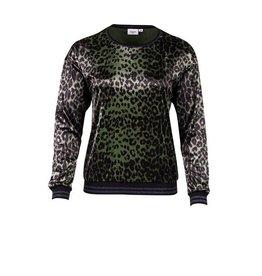 Saint Tropez Saint Tropez T1558 Animal Print Velvet Sweater Groen