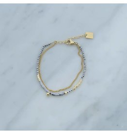 Zag Bijoux Zag Bijoux Double Bracelet Silvergrey Goudkleurig