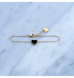 Zag Bijoux Zag Bijoux Bracelet Heart Black Goudkleurig