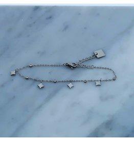Zag Bijoux Zag Bijoux Bracelet Crystal Squares Zilverkleurig