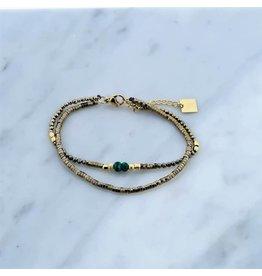 Zag Bijoux Zag Bijoux Double Bracelet Green Bead Goudkleurig