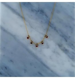 Zag Bijoux Zag Bijoux Necklace Red Beads Goudkleurig