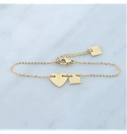 Zag Bijoux Zag bijoux Bracelet Heart Goudkleurig