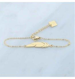 Zag Bijoux Zag bijoux Bracelet Feather Goudkleurig