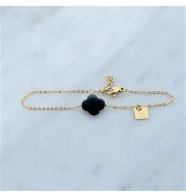Zag Bijoux Zag Bijoux Bracelet Black Clover Goudkleurig
