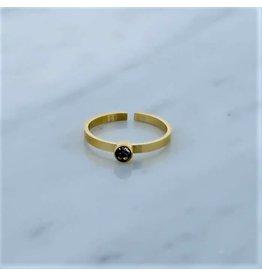 Zag Bijoux Zag Bijoux Ring Zircon Crystal Goudkleurig