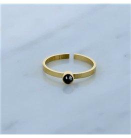 Zag Bijoux Zag Bijoux Ring Zircon Black Diamond Goudkleurig