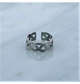 Zag Bijoux Zag Bijoux Ring Braided Zilverkleurig