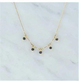 Zag Bijoux Zag Bijoux Necklace Black Beads Goudkleurig