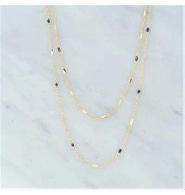 Zag Bijoux Zag Bijoux Double Necklace Black Goudkleurig