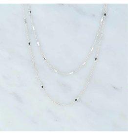 Zag Bijoux Zag Bijoux Double Necklace Black Zilverkleurig