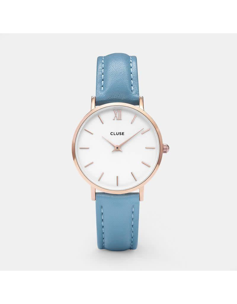Cluse Watches Cluse Minuit Rose Gold White/Retro Blue
