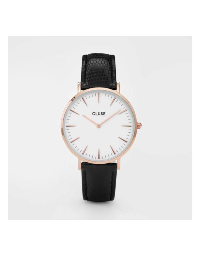 Cluse Watches Cluse Minuit Rose Gold White/Black Lizard