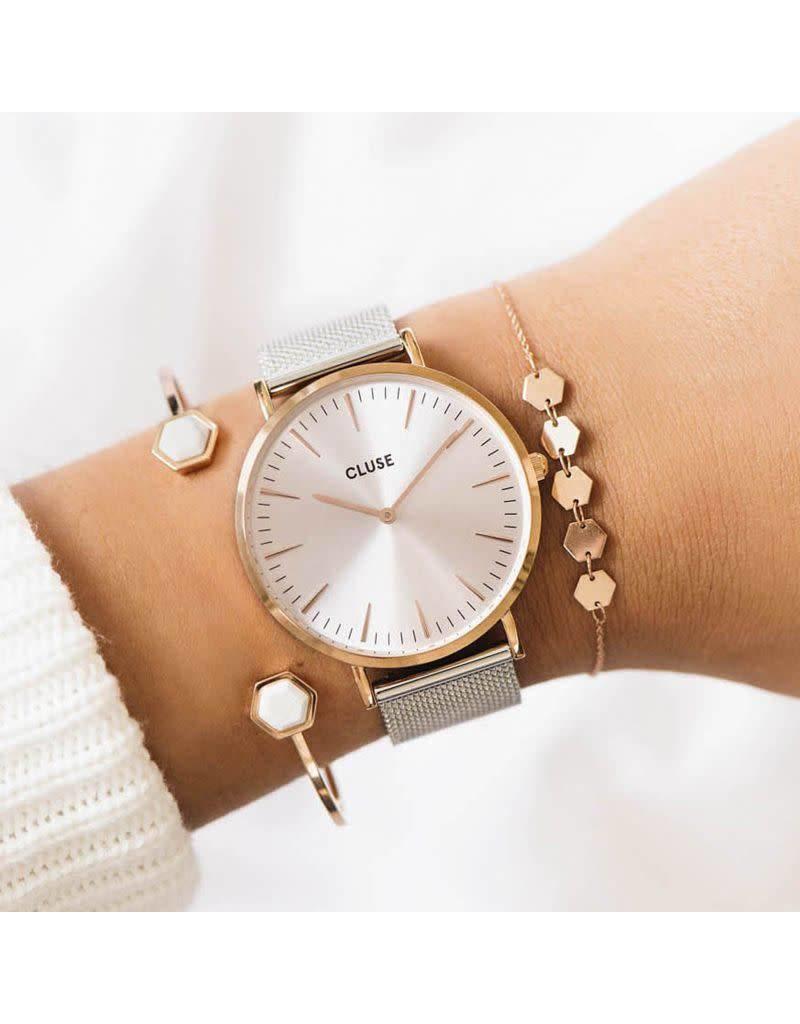 Cluse Watches La Bohème Mesh Rose Gold Silver/Silver