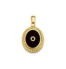 Mi Moneda Vintage MMM Icons Pendant Oval Goudkleurig & Black Enamel