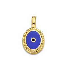 Mi Moneda Vintage MMM Icons Pendant Oval Goudkleurig & Pacific Blue Enamel
