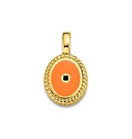 Mi Moneda Vintage MMM Icons Pendant Oval Goudkleurig & Orange Enamel
