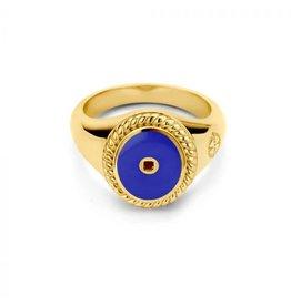Mi Moneda Vintage MMM Icons Ring Oval Goudkleurig & Pacific Blue Enamel