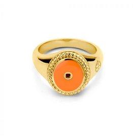 Mi Moneda Vintage MMM Icons Ring Oval Goudkleurig & Orange Enamel