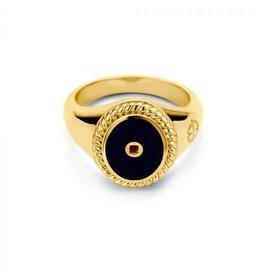 Mi Moneda MMM Icons Ring Oval Goudkleurig & Black Enamel