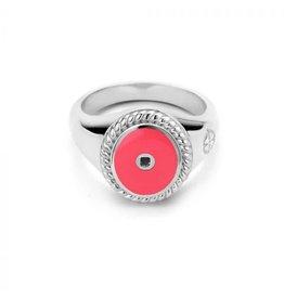 Mi Moneda Vintage MMM Icons Ring Oval 925 Zilver & Hot Pink Enamel