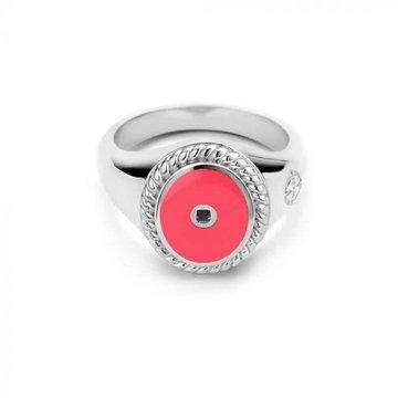 Mi Moneda MMM Icons Ring Oval 925 Zilver & Hot Pink Enamel