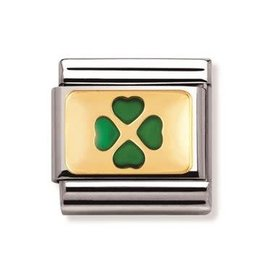 Nomination Nomination - 030205-01- Link  Classic GOOD LUCK - Green Four-Leaf-Clover