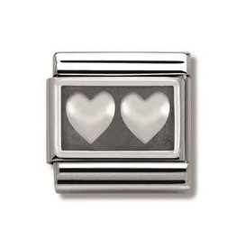 Nomination Nomination - 330102-02- Link Classic PLATES OXIDIZED - Double Heart