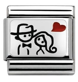 Nomination Nomination- 330208-10 - Link Classic OZIDIZED PLATES - Couple With Heart