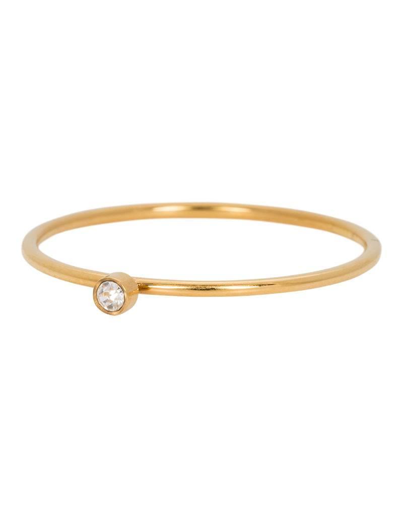 iXXXi Jewelry iXXXi Jewelry Zirconia 1 Stone Crystal 1mm Goudkleurig