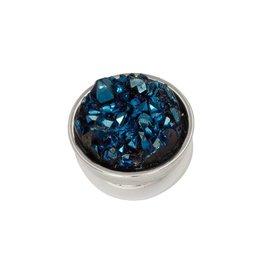 iXXXi Jewelry iXXXi Jewelry Top Part Drusy Dark Blue Zilverkleurig