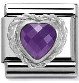 Nomination Nomination - 330603-01- Link Classic HEART FACETED CZ- Purple