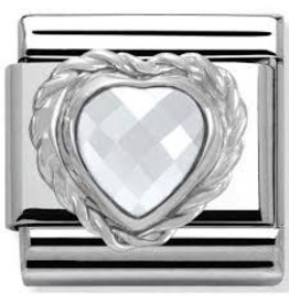 Nomination Nomination - 330603-010- Link Classic HEART FACETED CZ- White