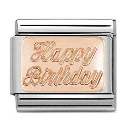 Nomination Nomination- 430101-29- Link Rosékleurig Classic PLATES - Happy Birthday