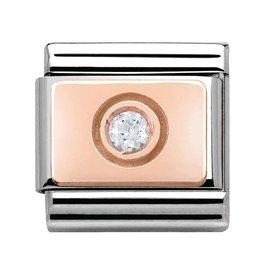 Nomination Nomination- 430303-03 - Link Rosékleurig Classic ENGRAVED - Circle White CZ
