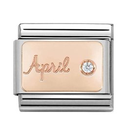 Nomination Nomination- 430508-04- Link Rosékleurig Classic STONE of MONTH - April Diamond