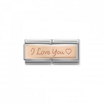 Nomination Nomination- 430710-04- Link Rosékleurig Classic Double Engraved - I Love You