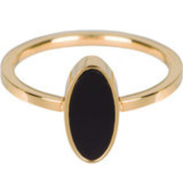 Charmin*s Charmin's Ring Steel Fashion Seal Oval Black Stone