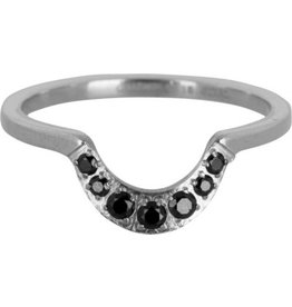 Charmin's Ring Steel Half Moon Black CZ