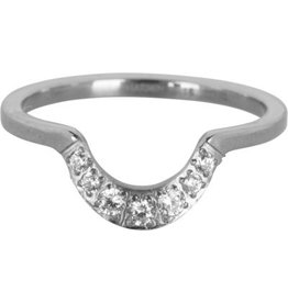Charmin's Ring Steel Half Moon Crystal CZ