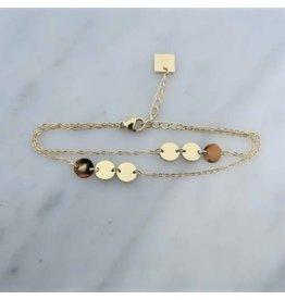 Zag Bijoux Zag Bijoux Double Bracelet Coins Goudkleurig