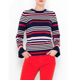 Saint Tropez Saint Tropez T2517 Striped Sweater W Metallic Red