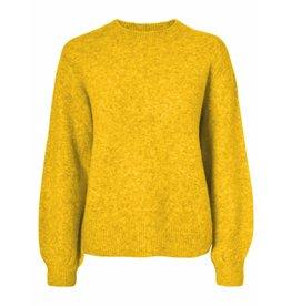 Pieces Pieces Belina LS Wool Knit Camp Lemon Chrome/Melange