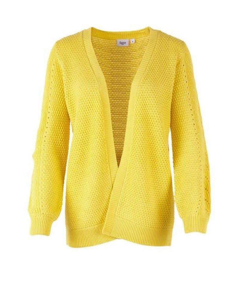 Saint Tropez Saint Tropez T2561 Pointelle Knit Cardigan Yellow