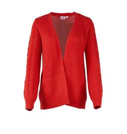 Saint Tropez Saint Tropez T2561 Pointelle Knit Cardigan Red