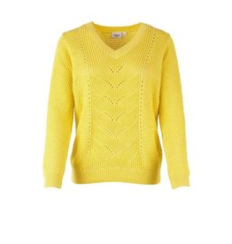 Saint Tropez Saint Tropez T2560 Pointelle Knit Sweater Yellow