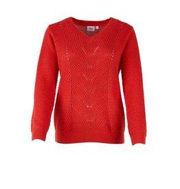 Saint Tropez Saint Tropez T2560 Pointelle Knit Sweater Red
